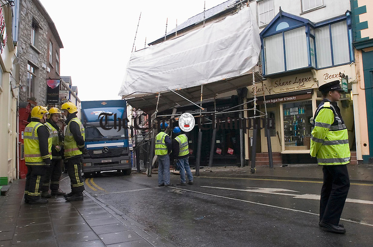 A view of the scene at High Street Ennis where a delivery truck got caught on scaffolding. Initial fears were that the scaffolding was touching or near live electrical cable. Photograph by John Kelly.