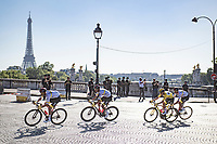 yellow jersey / GC leader Tadej Pogacar (SVN/UAE-Emirates) passing in front of the Eiffel Tower<br /> <br /> Stage 21 (Final) from Chatou to Paris - Champs-Élysées (108km)<br /> 108th Tour de France 2021 (2.UWT)<br /> <br /> ©kramon