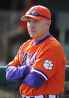 Head coach Jack Leggett (7) of the Clemson Tigers in a game against the University of Alabama-Birmingham on Feb. 17, 2012, at Doug Kingsmore Stadium in Clemson, South Carolina. UAB won 2-1. (Tom Priddy/Four Seam Images)