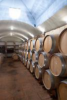 Oak barrel aging and fermentation cellar. Wine Art Estate Winery, Microchori, Drama, Macedonia, Greece