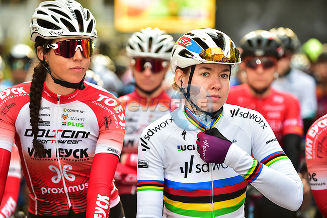 World Champion Anna Van Der Breggen (NED) Team SD Worx lines up for the start of the 2021 Flèche-Wallonne Femmes, running 130.2 km from Huy to Huy, Belgium. 21st April 2021.  <br /> Picture: A.S.O./Gautier Demouveaux | Cyclefile<br /> <br /> All photos usage must carry mandatory copyright credit (© Cyclefile | A.S.O./Gautier Demouveaux)
