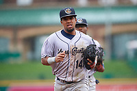 Kane County Cougars second baseman Eddie Hernandez (14) jogs off the field between innings of a Midwest League game against the Fort Wayne TinCaps at Parkview Field on May 1, 2019 in Fort Wayne, Indiana. Fort Wayne defeated Kane County 10-4. (Zachary Lucy/Four Seam Images)
