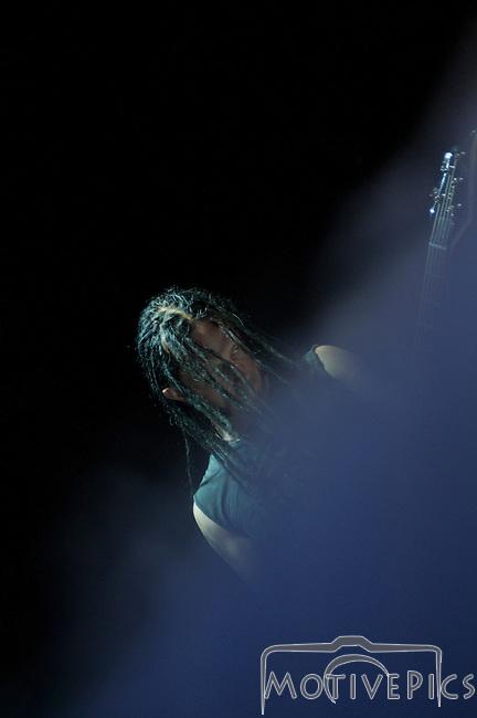 Rock band Disturbed plays during Mayhem Fest 2011 at Verizon Wireless Amphitheater.
