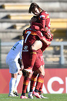 Lindsey Thomas of AS Roma celebrates with team mates Andressa Alves Da Silva and Agnese Bonfantini after scoring the goal of 4-1 during the Women Italy cup round of 8 second leg match between AS Roma and Florentia S.G. at stadio delle tre fontane, Roma, February 14, 2021. Photo Andrea Staccioli / Insidefoto