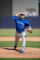 Toronto Blue Jays relief pitcher Justin Shafer (50) delivers a pitch during a Grapefruit League Spring Training game against the New York Yankees on February 25, 2019 at George M. Steinbrenner Field in Tampa, Florida.  Yankees defeated the Blue Jays 3-0.  (Mike Janes/Four Seam Images)