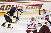 Open net for Jeff Velleca (Merrimack - 28), but no goal. Steven Whitney (BC - 21), Patrick Wey (BC - 6), Parker Milner (BC - 35) - The Boston College Eagles defeated the Merrimack College Warriors 4-3 on Friday, October 30, 2009, at Conte Forum in Chestnut Hill, Massachusetts.