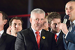 The Welsh rugby team celebrate winning the Grand Slam in the Six Nations rugby tournament at The Senydd in Cardiff Bay..Wales rugby Coach Warren Gatland.