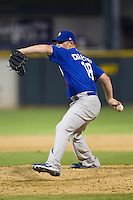 Las Vegas 51s pitcher David Carpenter #19 delivers during the Pacific Coast League baseball game against the Round Rock Express on August 7th, 2012 at the Dell Diamond in Round Rock, Texas. The Express defeated the 51s 5-4. (Andrew Woolley/Four Seam Images).