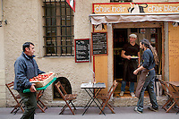 Gilles, a vegetable supplier, delivers locally-grown tomatoes to restaurant 'Chat Noir, Chat Blanc', Nice, France, 10 April 2012