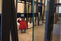 POLEN, 02.2010, Warschau.<br /> Baustelle des neuen Frederic-Chopin-Museum in der ul. Tamka 41, das im Maerz 2010 eroeffnen soll. Multimediawaende. - The new Frederic Chopin museum under construction in 41, Tamka street. It is to open its gates in March 2010. Multimedia installation.<br /> ?Piotr Koszczynski/EST&OST