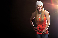Professional rock climber, Shauna Coxsey posing for a portrait at the LWimages Studio in New Mills, High Peak, United Kingdom on April 14, 2015.<br />
