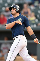 First baseman Brandon Brosher (25) of the Columbia Fireflies bats in a game against the Rome Braves on Sunday, July 2, 2017, at Spirit Communications Park in Columbia, South Carolina. Columbia won, 3-2. (Tom Priddy/Four Seam Images)
