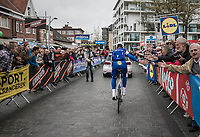 Tom Boonen (BEL/Quick-Step Floors) in his last ever (farewell) race on Belgian soil is greeted warmly by the start crowd (in his home town)<br /> <br /> 105th Scheldeprijs 2017 (1.HC)<br /> 1 Day Race: Mol › Schoten (BEL/202km)