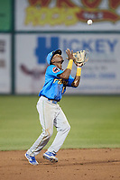 Myrtle Beach Pelicans shortstop Yeison Santana (16) settles under a pop fly during the game against the Lynchburg Hillcats at Bank of the James Stadium on May 22, 2021 in Lynchburg, Virginia. (Brian Westerholt/Four Seam Images)