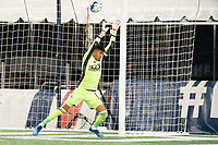 FOXBOROUGH, MA - OCTOBER 16: Carlos Avilez #1 of North Texas SC reaches for a high kick at goal during a game between North Texas SC and New England Revolution II at Gillette Stadium on October 16, 2020 in Foxborough, Massachusetts.