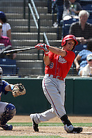 Taylor Lindsey #8 of the Inland Empire 66'ers bats against the Rancho Cucamonga Quakes at The Epicenter on April 8, 2012 in Rancho Cucamonga,California. Inland Empire defeated Rancho Cucamonga 7-1.(Larry Goren/Four Seam Images)