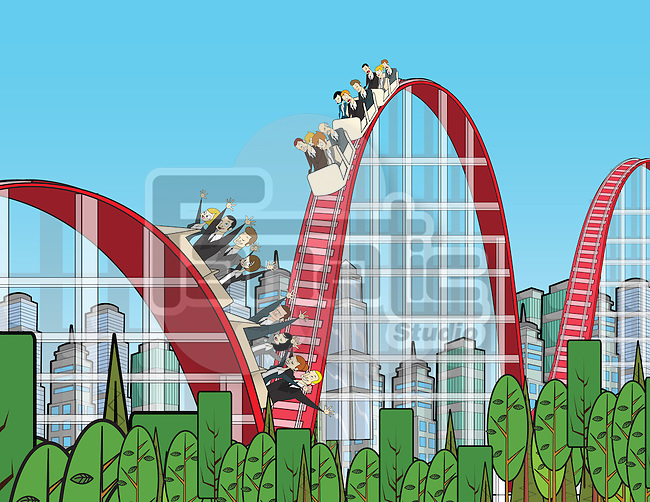 Businesspeople on rollercoaster