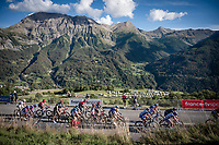 The grupetto in the final kilometers up the Orcières-Merlette finish climb<br /> <br /> Stage 4 from Sisteron to Orcières-Merlette (161km)<br /> <br /> 107th Tour de France 2020 (2.UWT)<br /> (the 'postponed edition' held in september)<br /> <br /> ©kramon