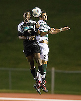 Number 8 ranked Charlotte beats number 16 ranked Coastal Carolina 1-0 on a goal by Thomas Allen in the 101st minute during the second overtime.  Anthony Perez (21), Ashton Bennett (7)