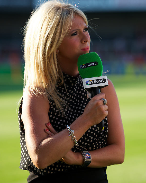 20130801 Copyright onEdition 2013 ©<br />Free for editorial use image, please credit: onEdition.<br /><br />BT Sport presenter, Sarra Elgan Easterby, during the J.P. Morgan Asset Management Premiership Rugby 7s Series.<br /><br />The J.P. Morgan Asset Management Premiership Rugby 7s Series kicks off for the fourth season on Thursday 1st August with Pool A at Kingsholm, Gloucester with Pool B being played at Franklin's Gardens, Northampton on Friday 2nd August, Pool C at Allianz Park, Saracens home ground, on Saturday 3rd August and the Final being played at The Recreation Ground, Bath on Friday 9th August. The innovative tournament, which involves all 12 Premiership Rugby clubs, offers a fantastic platform for some of the country's finest young athletes to be exposed to the excitement, pressures and skills required to compete at an elite level.<br /><br />The 12 Premiership Rugby clubs are divided into three groups for the tournament, with the winner and runner up of each regional event going through to the Final. There are six games each evening, with each match consisting of two 7 minute halves with a 2 minute break at half time.<br /><br />For additional images please go to: http://www.w-w-i.com/jp_morgan_premiership_sevens/<br /><br />For press contacts contact: Beth Begg at brandRapport on D: +44 (0)20 7932 5813 M: +44 (0)7900 88231 E: BBegg@brand-rapport.com<br /><br />If you require a higher resolution image or you have any other onEdition photographic enquiries, please contact onEdition on 0845 900 2 900 or email info@onEdition.com<br />This image is copyright the onEdition 2013©.<br /><br />This image has been supplied by onEdition and must be credited onEdition. The author is asserting his full Moral rights in relation to the publication of this image. Rights for onward transmission of any image or file is not granted or implied. Changing or deleting Copyright information is illegal as specified in the Copyright, Design and Patents Act 1988. If you are in 