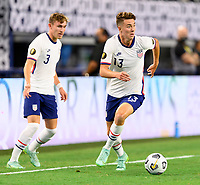 DALLAS, TX - JULY 25: Matthew Hoppe #13 of the United States looks to pass the ball during a game between Jamaica and USMNT at AT&T Stadium on July 25, 2021 in Dallas, Texas.