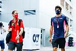 26.09.2020, Sochi Autodrom, Sochi, FORMULA 1 VTB RUSSIAN GRAND PRIX 2020, im Bild<br />Teamkollegen im nächsten Jahr: Sebastian Vettel (GER#5), Scuderia Ferrari und Lance Stroll (CAN#18), BWT Racing Point F1 Team<br /> <br /> Foto © nordphoto / Bratic