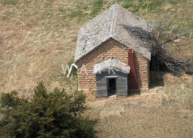 Abandoned Kansas one-room schoolhouse. May 2014. 83900