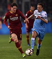 Nicolo Zaniolo of AS Roma , Lucas Leiva of Lazio <br /> Roma 2-3-2019 Stadio Olimpico Football Serie A 2018/2019 SS Lazio - AS Roma <br /> Foto Andrea Staccioli / Insidefoto