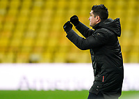Watford manager Xisco Munoz celebrates the Tyrone Green of Harlequins goal during the Sky Bet Championship behind closed doors match played without supporters with the town in tier 4 of the government covid-19 restrictions, between Watford and Norwich City at Vicarage Road, Watford, England on 26 December 2020. Photo by Andy Rowland.