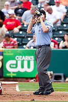 Home Plate Umpire Brandon Misun during a game between the Arkansas Travelers and the Springfield Cardinals on May 10, 2011 at Hammons Field in Springfield, Missouri.  Photo By David Welker/Four Seam Images.