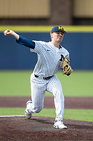 Michigan Wolverines /p/ Cameron Weston (55) /de;/ during NCAA baseball action against the Ohio State Buckeyes on April 10, 2021 at Ray Fisher Stadium in Ann Arbor, Michigan. The Wolverines defeated the Buckeyes 7-0. (Andrew Woolley/Four Seam Images)