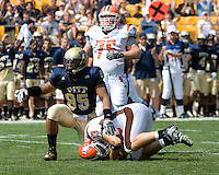 Pitt defensive lineman Mick Williams sacks Bowling Green quarterback Tyler Sheehan. The Bowling Green Falcons defeated the Pitt Panthers 27-17 on August 30, 2008 at Heinz Field, Pittsburgh, Pennsylvania.