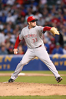 April 16, 2008:  Cincinnati Reds starting pitcher Josh Fog (33) makes a pitch against the Chicago Cubs at Wrigley Field in Chicago, IL. Photo by: Chris Proctor/Four Seam Images