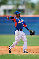 GCL Mets second baseman Miguel Patino (93) throws to first during a game against the GCL Marlins on August 12, 2016 at St. Lucie Sports Complex in St. Lucie, Florida.  GCL Marlins defeated GCL Mets 8-1.  (Mike Janes/Four Seam Images)