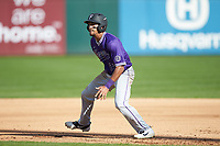 Jordan Starkes (23) of the Furman Paladins takes his lead off of first base against the Wake Forest Demon Deacons at BB&T BallPark on March 2, 2019 in Charlotte, North Carolina. The Demon Deacons defeated the Paladins 13-7. (Brian Westerholt/Four Seam Images)