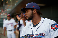 Jacksonville Jumbo Shrimp starting pitcher Jorge Guzman (26) takes the field before a Southern League game against the Mobile BayBears on May 28, 2019 at Baseball Grounds of Jacksonville in Jacksonville, Florida.  Mobile defeated Jacksonville 2-1.  (Mike Janes/Four Seam Images)