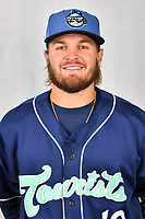 Asheville Tourists pitcher Eric Hepple (19) during media day at McCormick Field on April 2, 2019 in Asheville, North Carolina. (Tony Farlow/Four Seam Images)