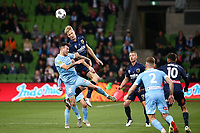 22nd May 2021, Melbourne, Australia;  Matt Simon of the Central Coast Mariners wins the header during the Hyundai A-League football match between Melbourne City FC and Central Coast Mariners at AAMI Park in Melbourne, Australia.