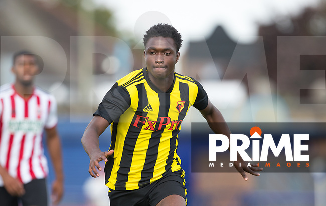 Sam Sesay of Watford during the Professonal Development League match between Watford U23 and Sheffield United U23 at The Maurice Rebak Stadium, Summers Lane, England on 17 August 2018. Photo by Andy Rowland.