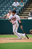 Bowie Baysox Austin Hays (18) at bat during an Eastern League game against the Akron RubberDucks on May 30, 2019 at Prince George's Stadium in Bowie, Maryland.  Akron defeated Bowie 9-5.  (Mike Janes/Four Seam Images)