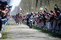 Australian National Champion Heinrich Haussler (AUS/IAM) leading the peloton over the extreme cobbles of sector 18: Trouée d'Arenberg - Wallers Forest<br /> <br /> 113th Paris-Roubaix 2015