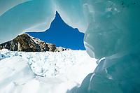 Ice cave on Franz Josef Glacier, Westland Tai Poutini National Park, West Coast, UNESCO World Heritage Area, New Zealand, NZ