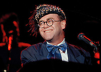 """Jul 09, 1988 - Los Angeles, California, USA - British pop singer Elton John performs at the """"For the Love of Children"""" benefit for children with AIDS and other serious illnesses, at the Century Plaza Hotel in Los Angeles, July 9, 1988. .(Credit Image: © Alan Greth)"""