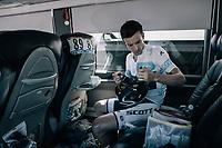 Simon Yates (GBR/Orica-Scott) getting ready on the teambus pre-race<br /> <br /> 104th Tour de France 2017<br /> Stage 15 - Laissac-Sévérac l'Église › Le Puy-en-Velay (189km)