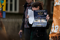 """Lorraine Inglis (Member of Frack Off London).<br /> <br /> London, 29/04/2017. Today, """"Campaign Against Climate Change"""" held a demonstration started at Old Palace Yard and ended on Westminster Bridge, where people formed a human chain showing the message: """"Trump & May Climate Disaster"""". The demonstration was in support and solidarity with the People's Climate March in the US (and over 350 other marches taking place across the globe) and to warn the British Prime Minister Theresa May to stop following Donald Trump """"down the path to climate disaster"""".<br />   <br /> For more information please click here: https://www.facebook.com/events/747422225425039/ & (Video) https://www.facebook.com/campaigncc/videos/1300562783385237/ & (Press Release) http://www.campaigncc.org/node/1782"""