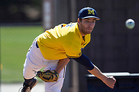 Michigan Wolverines pitcher Ryan Nutof (8) warms up before the NCAA baseball game against the Illinois Fighting Illini on April 8, 2017 at Ray Fisher Stadium in Ann Arbor, Michigan. Michigan defeated Illinois 7-0. (Andrew Woolley/Four Seam Images)
