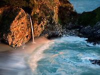 Waterfalls and ocean at Julia Pfeiffer State Park, California