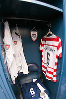 The locker for Amy LePeilbet (6) of the United States (USA). The United States (USA) and Germany (GER) played to a 2-2 tie during an international friendly at Rentschler Field in East Hartford, CT, on October 23, 2012.