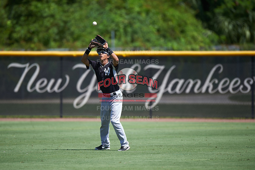 GCL Yankees West right fielder Leobaldo Cabrera (36) catches a fly ball during a game against the GCL Yankees East on August 3, 2016 at the Yankees Complex in Tampa, Florida.  GCL Yankees East defeated GCL Yankees West 12-2.  (Mike Janes/Four Seam Images)