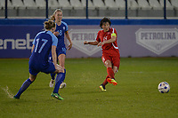 20190304 - LARNACA , CYPRUS : North Korean defender Kim Nam-hui (right) pictured during a women's soccer game between Finland and Korea DPR , on Monday 4 March 2019 at the Antonis Papadopoulos Stadium in Larnaca , Cyprus . This is the third game in group A for Both teams during the Cyprus Womens Cup 2019 , a prestigious women soccer tournament as a preparation on the Uefa Women's Euro 2021 qualification duels. PHOTO SPORTPIX.BE | STIJN AUDOOREN